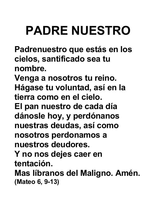 Oracion Del Padre Nuestro En Picture