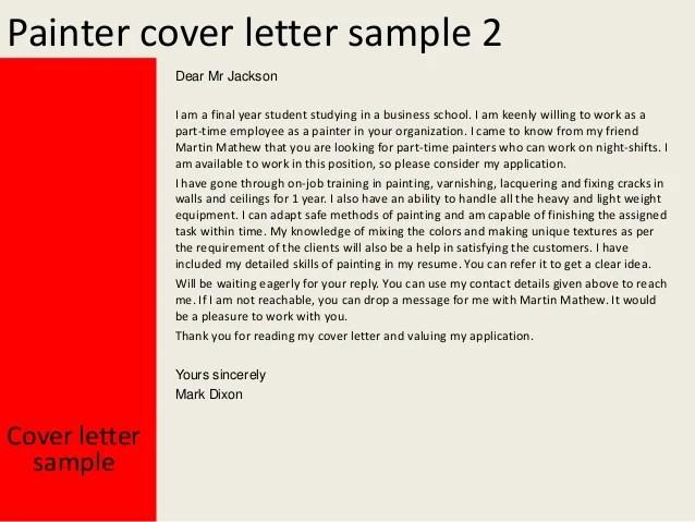 Customer Service Officer Sample Cover Letter Career Faqs Painter Cover Letter