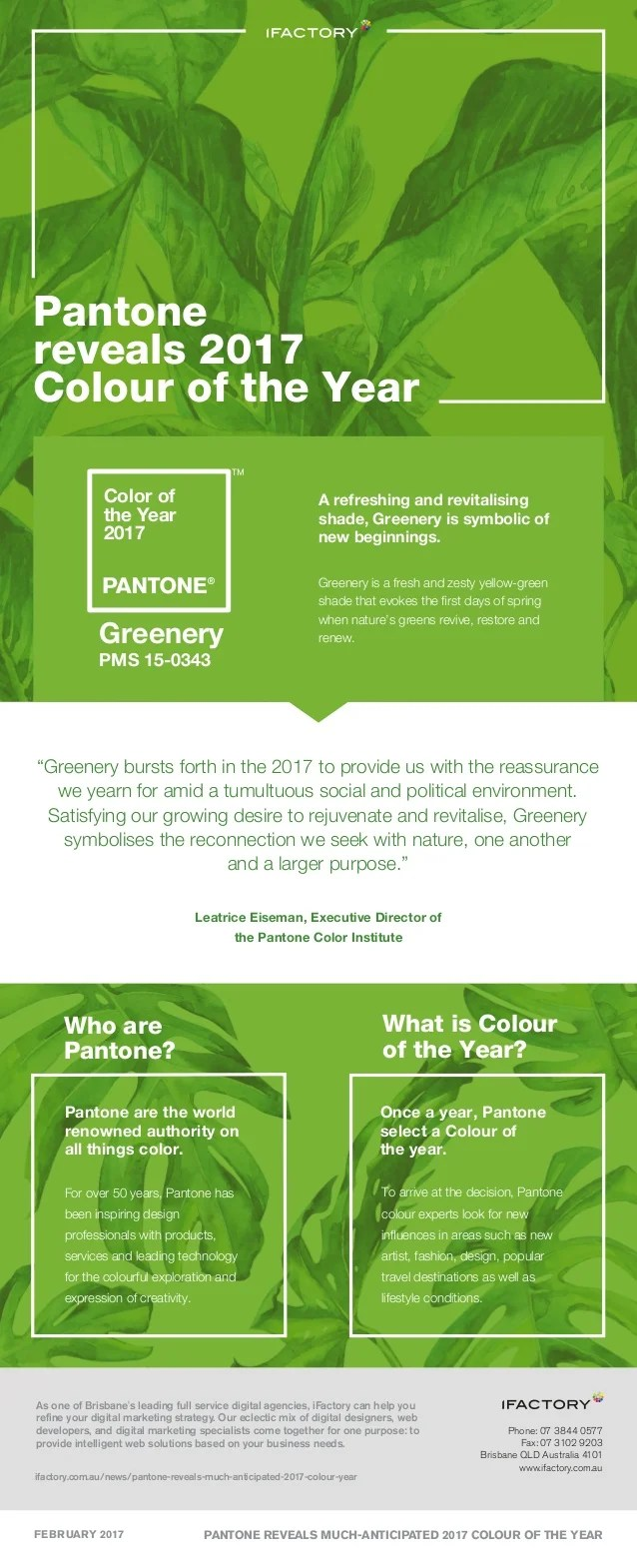 Greenery Pantone Pantone Reveals Much Anticipated 2017 Colour Of The Year Infographic