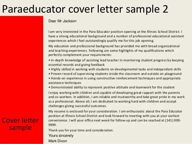 cover letter paraprofessional special education