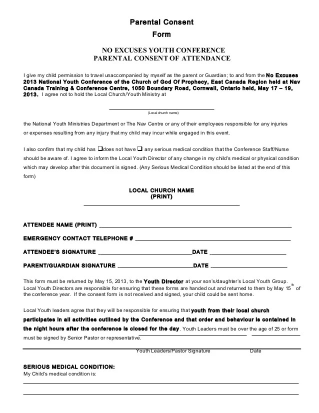 Parental Release Form Youth Church  Retirement Letter Samples Of