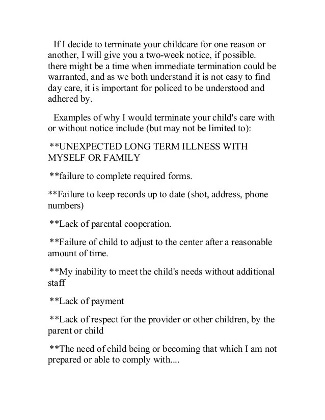 2 Week Notice Letter For Daycare Sample Textpoemsorg - sample letter to withdraw child from daycare