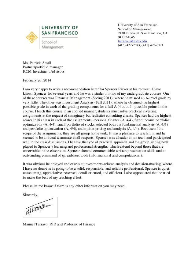 finance letter of recommendation