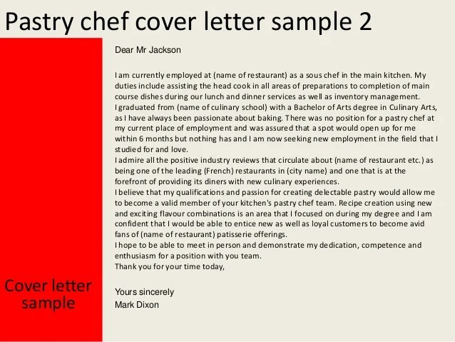 cover letter for pastry chef