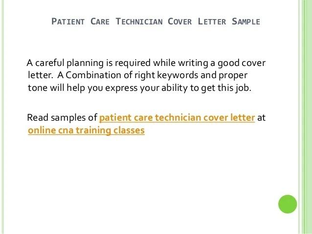 patient care technician cover letter no experience