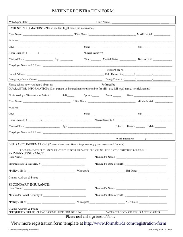 new patient registration form template - Intoanysearch