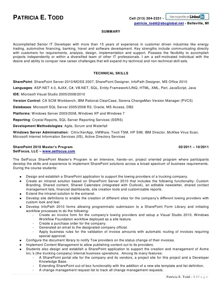 sharepoint resume - Towerssconstruction