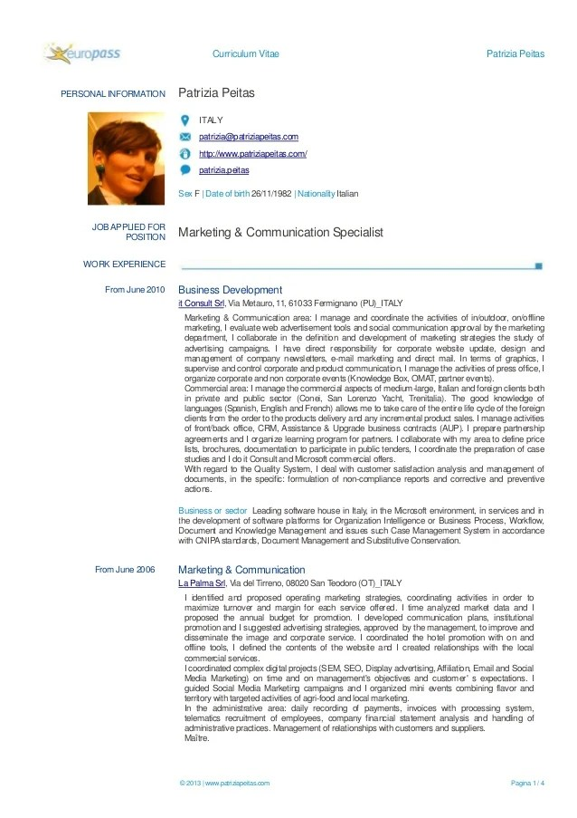 Computers And Technology My Perfect Resume Patrizia Peitas Marketing And Communication Specialist