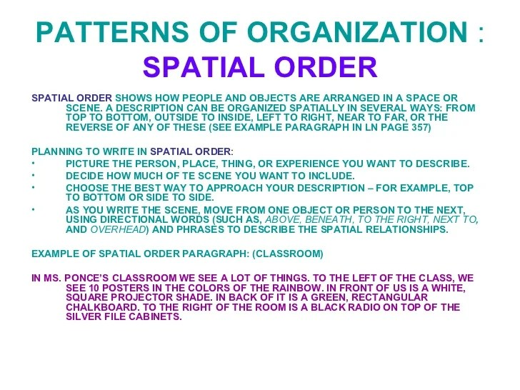 patterns of organization of an essay Patterns of organization chronological patterns sequential patterns spatial  patterns compare-contrast patterns advantages- disadvantages patterns.