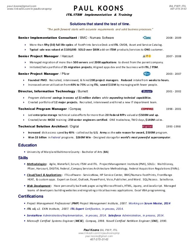 Itil And Security Management Overview Infosectoday Paul Koons 2 Pg Itil Resume 20141027