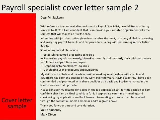 payroll specialist resume cover letter 28 images build