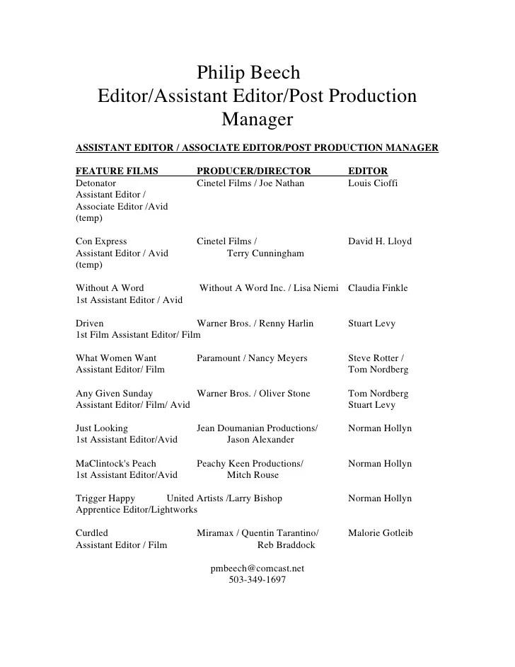 assistant editor resume - Ozilalmanoof