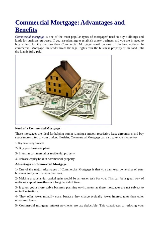 Commercial Mortgage: Advantages and Benefits