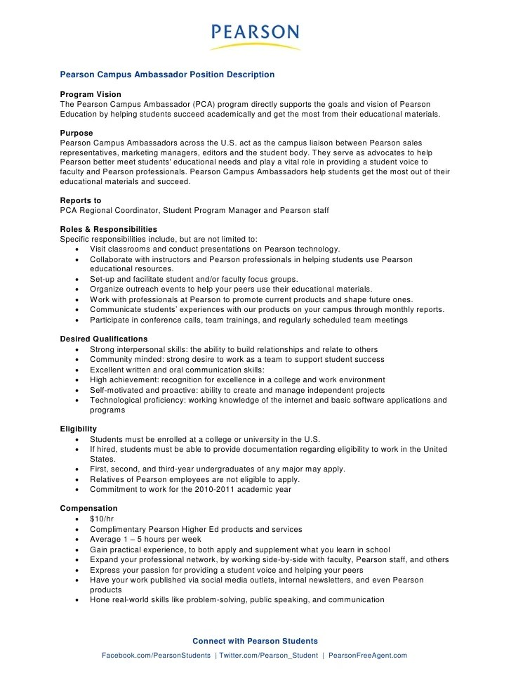 Physical Therapist Resume Best Sample Resume Pearson Campus Ambassador Job Description