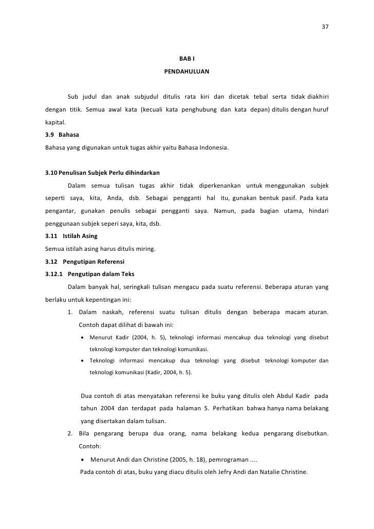 Contoh Judul Ta Mi Sedikit Belajar Contoh Proposal Tugas Akhir Ta 37 Bab I Pendahuluan Sub Judul Dan Anak Subjudul Ditulis Rata Kiri Dan