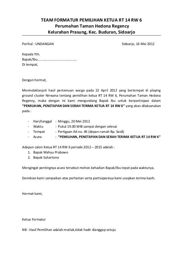 Surat Undangan Pemilihan Ketua Rw