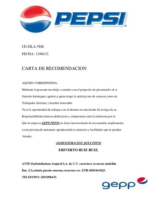 ejemplos de cartas de recomendacion laboral - Leonescapers