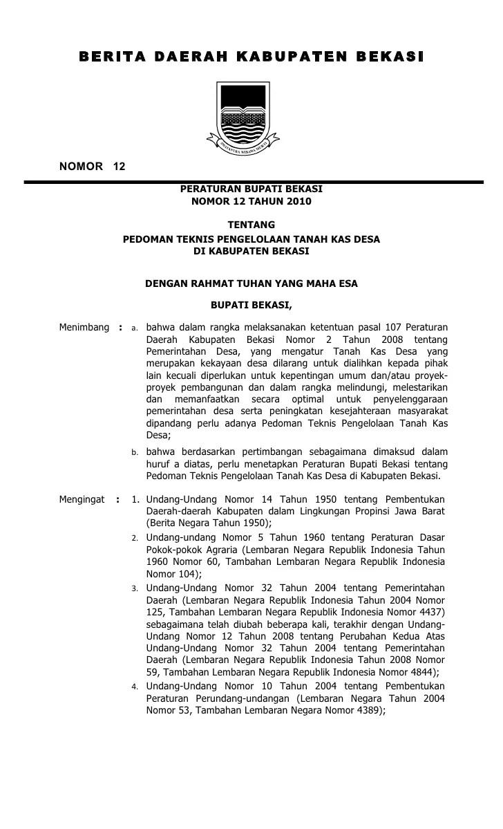 Contoh Peraturan Desa Contoh Pidato Calon Kepala Desa Pidatu Peraturan Bupati Bekasi Nomor 12 Tahun 2010 Tentang Pedoman Pengelol