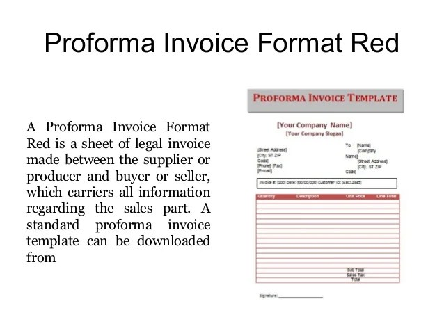 standard proforma invoice format - Intoanysearch