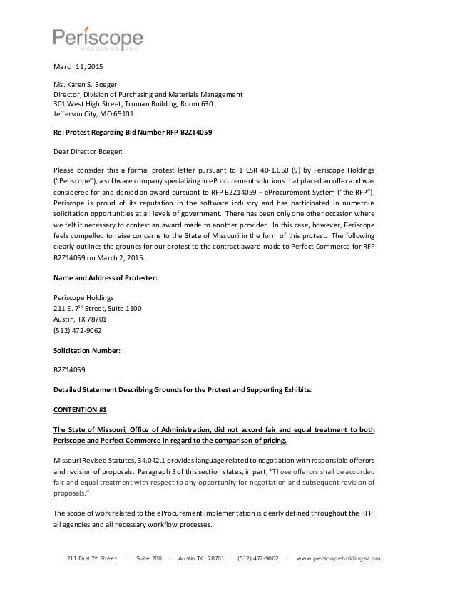 Invitation Sample Letter Periscope Official Protest Letter Missouri Contract