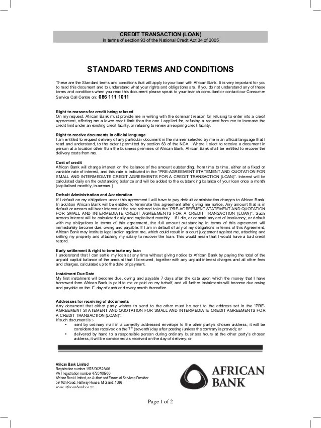 Personal loan terms and conditions