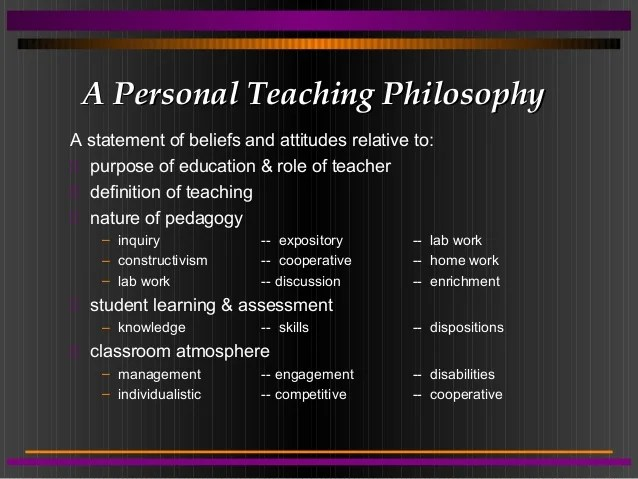 Teacher Philosophy Of Education Statement Sample Values Personal Philosophy Of Teaching