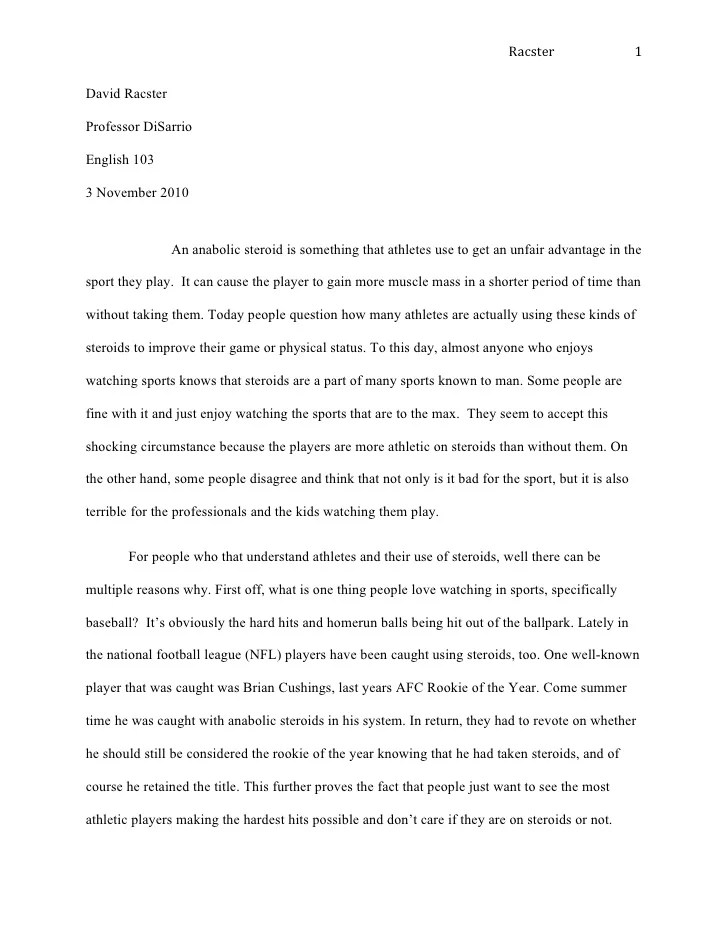 Narrative essay middle school examples