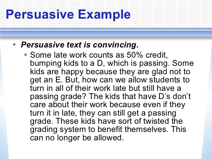 good persuasive essay about homework Persuasive writing example essay - time for kids.