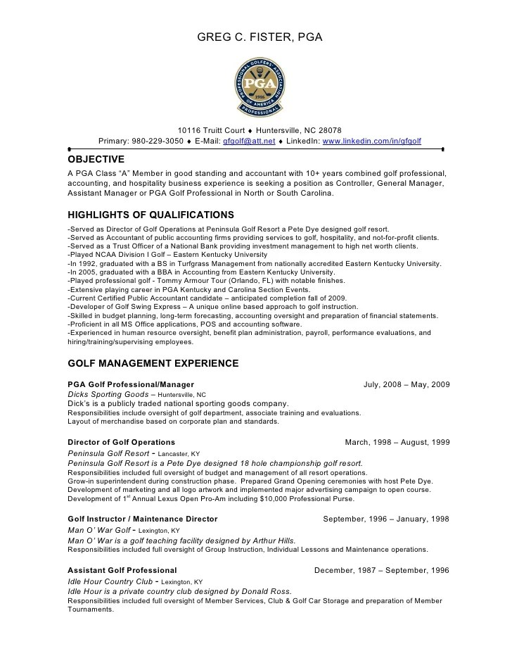 sample resume for golf course superintendent