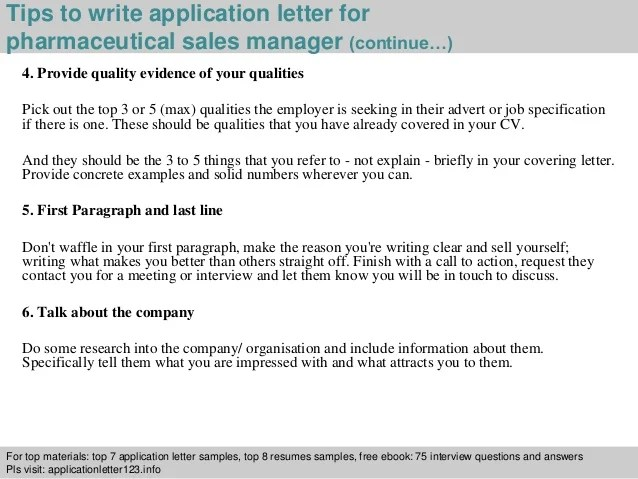 How To Write A Job Application Letter With Samples Pharmaceutical Sales Manager Application Letter