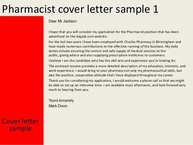 retail pharmacist resume cover letter