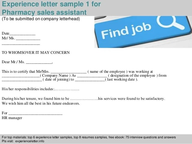 Medical Assistant Cover Letter Sample Monster Pharmacy Sales Assistant Experience Letter