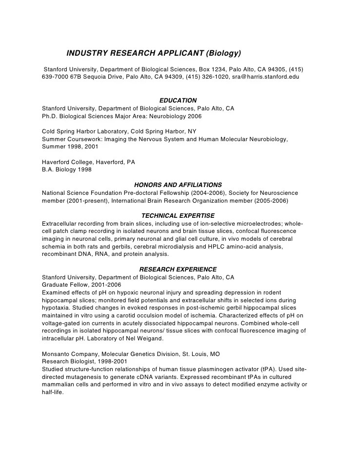 resume for industry science jobs examples