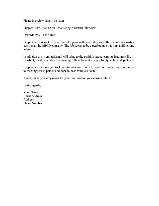 Thank You Letter After A Phone Interview | Cover Letter And Resume ...