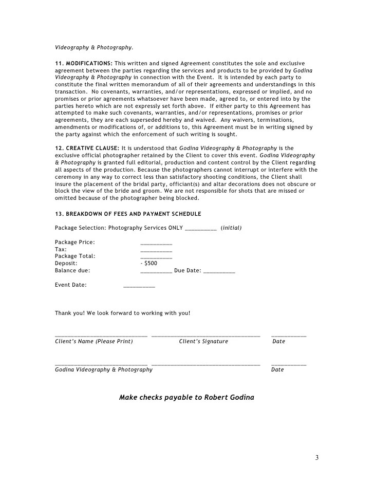 Videography Contract Template Contract For Photography Services - videography contract template