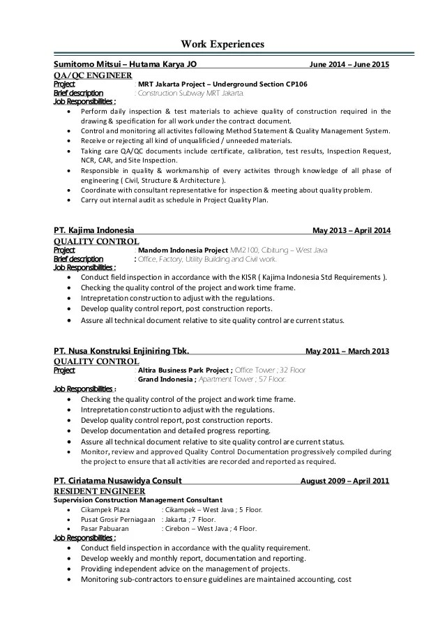 quality control engineer resume - Boatjeremyeaton - project control engineer sample resume