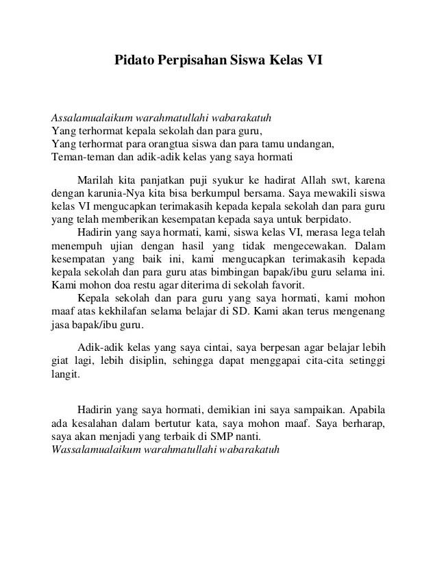 Teks Pidato Bahasa Indonesia Pidato Wikipedia Bahasa Indonesia Ensiklopedia Bebas Pidato Perpisahan Siswa Kelas Vi