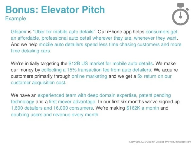 30 second elevator speech example - Funfpandroid