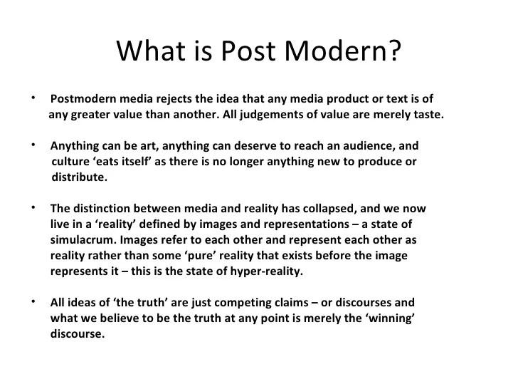 Post Modernism in Media