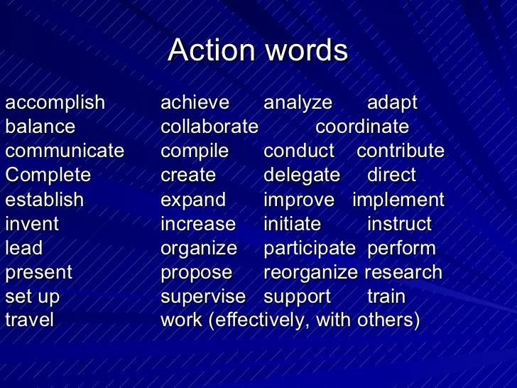 resume action words coordinate