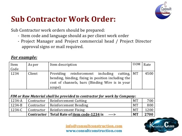 Work Order Letter Format For Construction Company  Work