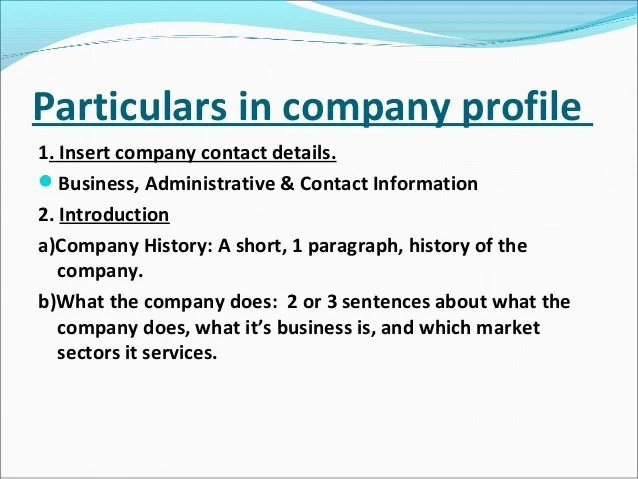Company profile examples for small business - company profile format word document
