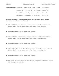 Worksheet On Dimensional Analysis Unit Conversion Problems ...