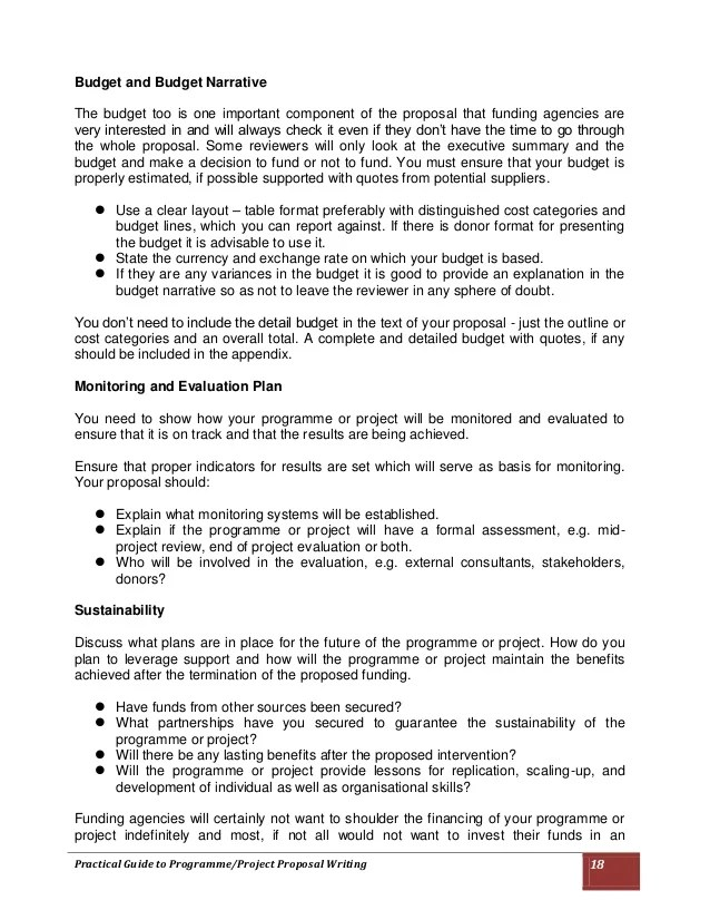 Sample Grant Budget 8 Documents In Word Pdf Practical Guide To Programmeproject Proposal Writing