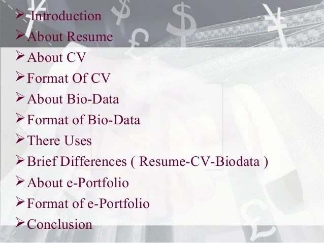 difference resume and cv