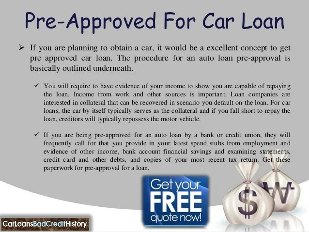 Pre approved auto loans bad credit
