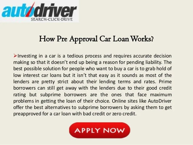 Pre Approved Auto Loan Bad Credit