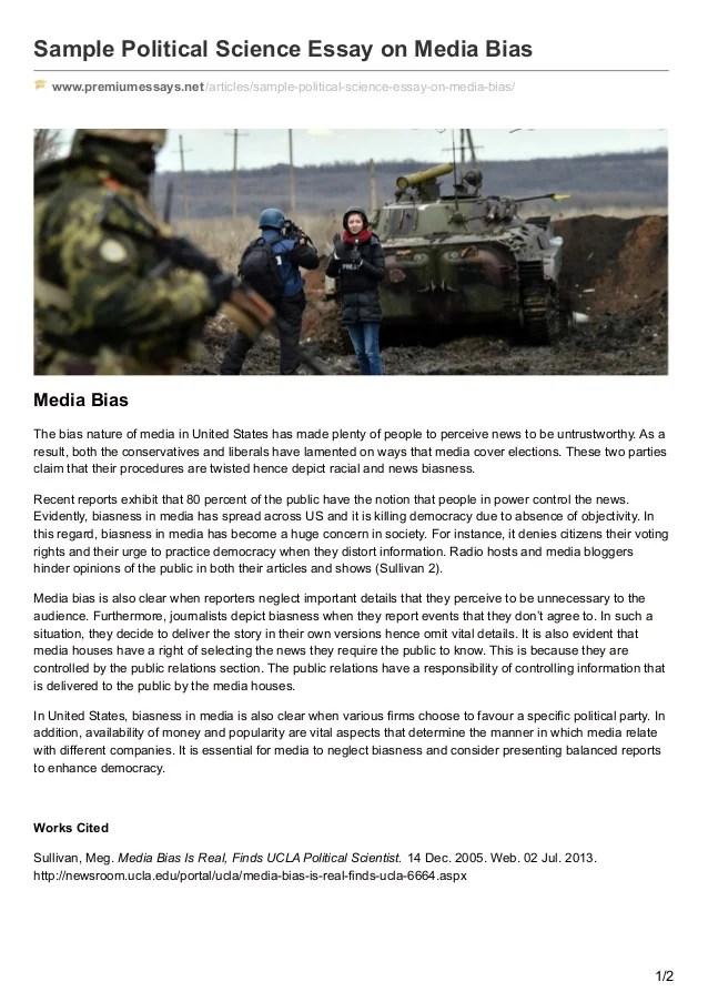 Premiumessaysnet Sample Political Science Essay On Media Bias