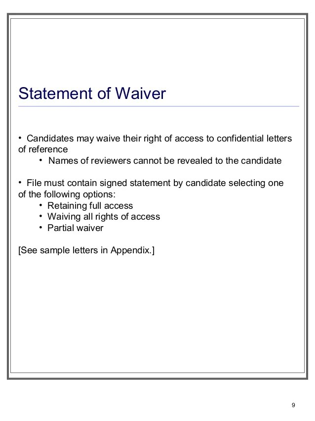 waive rights to view letter of recommendation