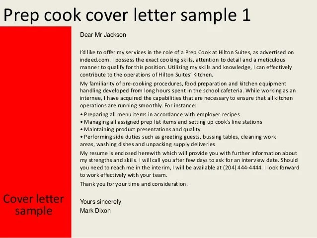 sample letter of application cover letters job search prep cook cover